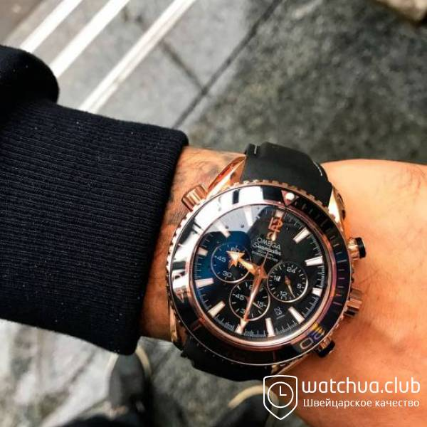 Omega Seamaster Planet Ocean Golden Black Bezel Rubber Band вид 1