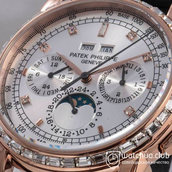 Patek Philippe Perpetual Calendar Golden Case White Dial All Diamond Bezel вид 2