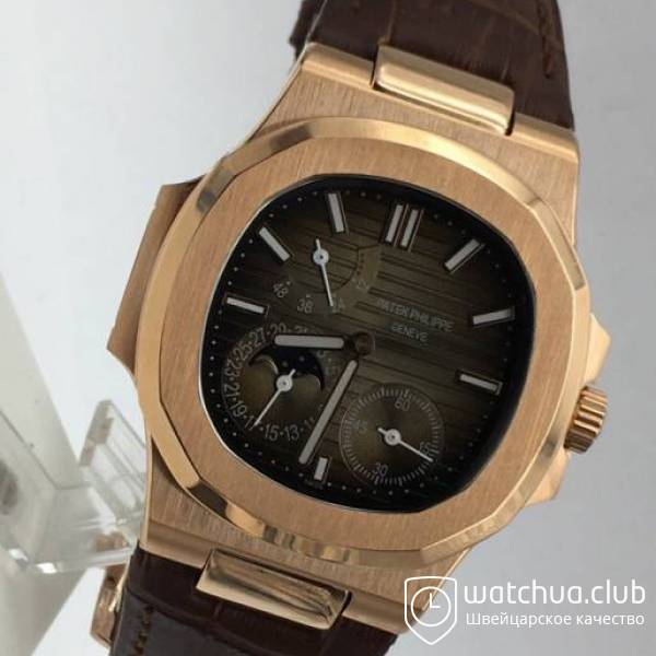 Patek Philippe Nautilus 5712R Golden Grey Gradient Brown Leather Strap вид 2