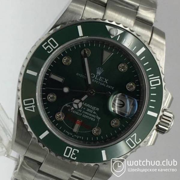Rolex Submariner Steel Green Ceramic Bezel Diamond Markers вид 2