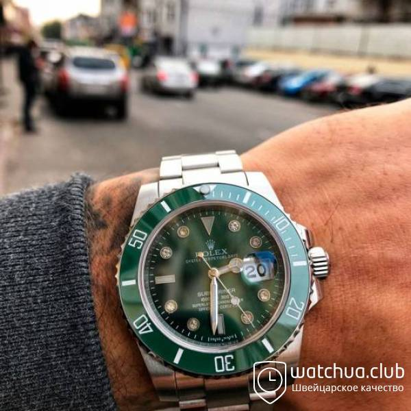 Rolex Submariner Steel Green Ceramic Bezel Diamond Markers вид 1