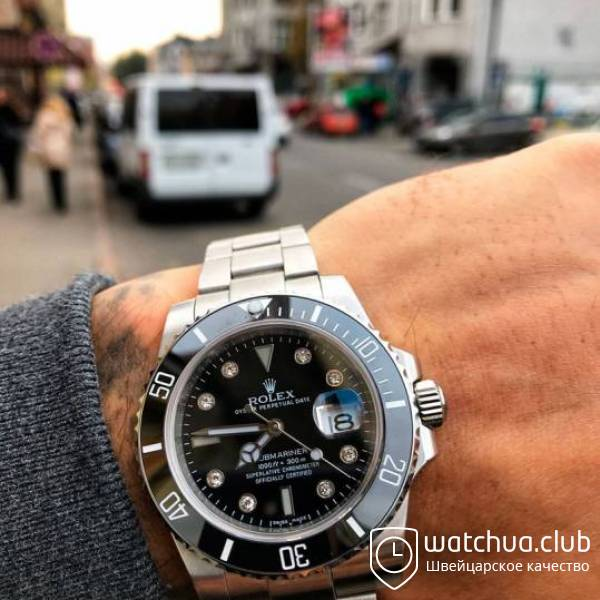 Rolex Submariner Steel Black Ceramic Bezel Diamond Markers вид 1