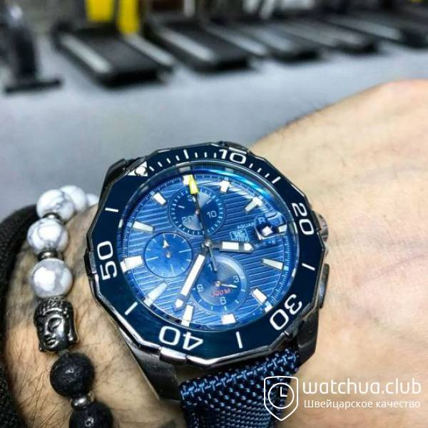 TAG Heuer Aquaracer Chrono Calibre 5 Steel Case Blue dial вид 1