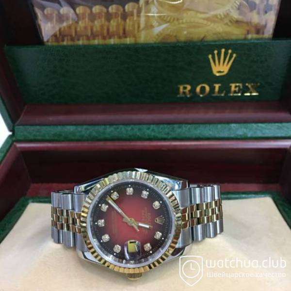 Rolex DateJust Red Dial Two-tone bracelet вид 1