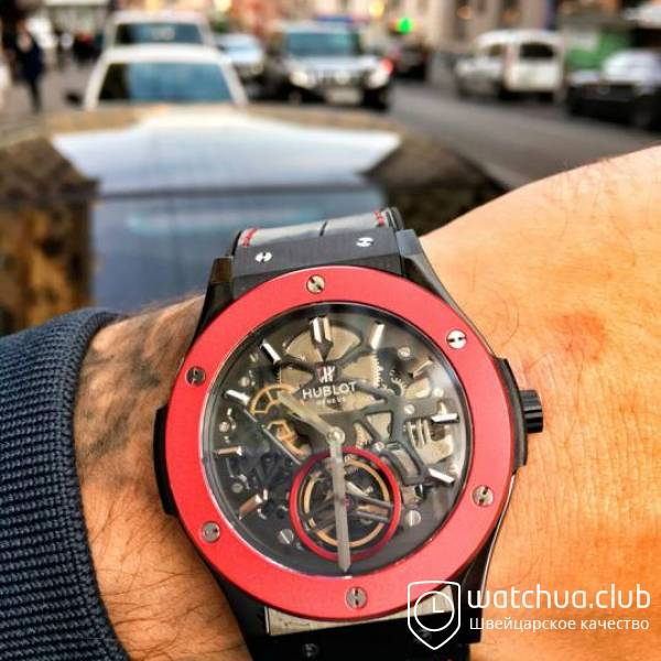 Hublot Classic Fusion 45mm BLACK DLC Case Red Bezel TF Best Edition S вид 1