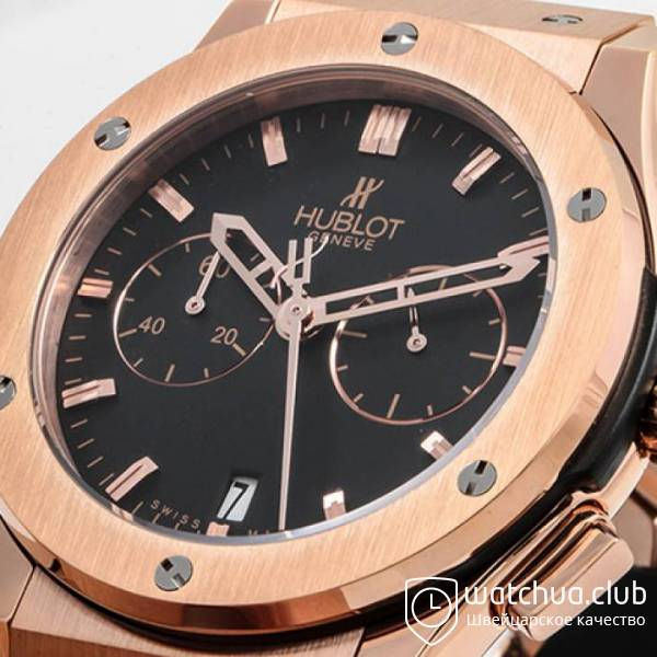 Hublot Classic Fusion Golden Black Chrono Rubber Strap вид 7