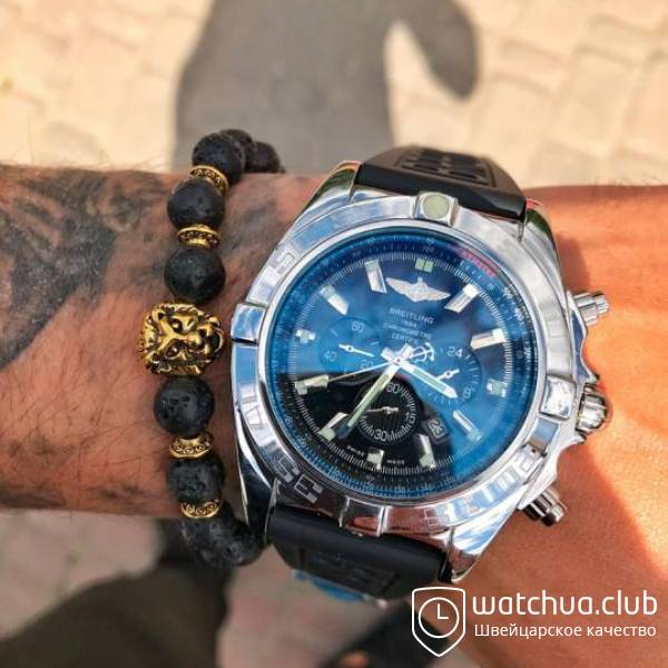 Breitling Chronomat Blue Dial Automatic Watch Rubber Strap вид 1
