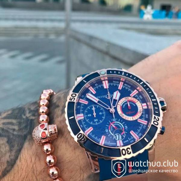 Ulysse Nardin Marine Diver Artemis Racing Silver Blue Red Chronograph вид 1
