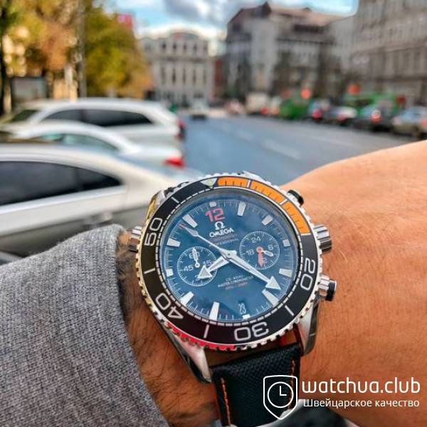 Omega Seamaster Planet Ocean Steel Black Orange Chrono вид 1