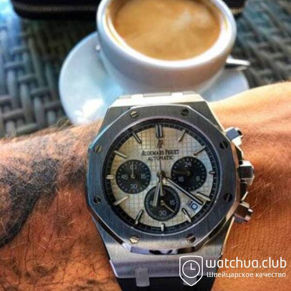 Audemars Piguet Royal Oak Chronograph QEII Cup silver white вид 1