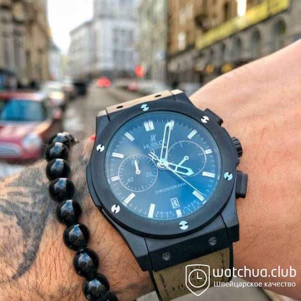 Hublot Classic Fusion All Black Chrono Rubber Strap вид 1