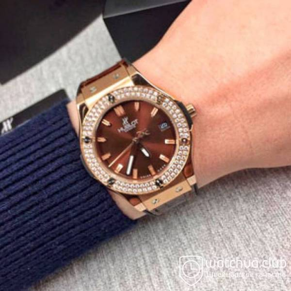 Hublot Classic Fusion Diamond Gold brown вид 1