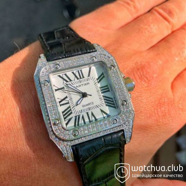 Cartier Santos Steel White Pave вид 1