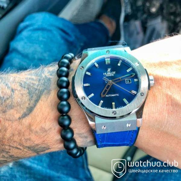 Hublot Classic Fusion Steel Blue Leather strap вид 1