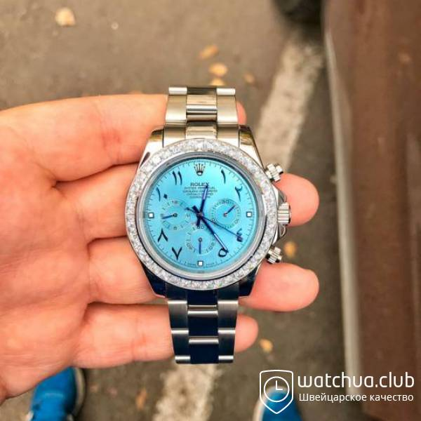 Rolex Cosmograph Daytona ice blue dial Pave bezel arabic numerals вид 1