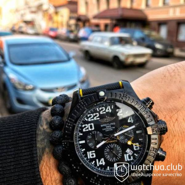 Breitling Avenger Hurricane All Black Yellow Strap вид 1