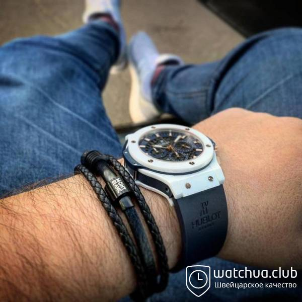 Hublot Big Bang white ceramic carbon dial blue вид 2