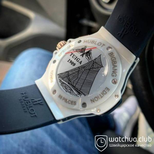 Hublot Big Bang white ceramic carbon dial blue вид 3