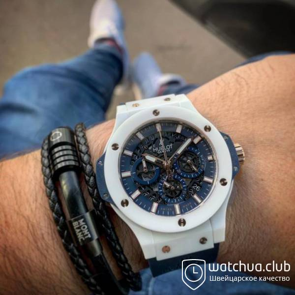 Hublot Big Bang white ceramic carbon dial blue вид 1