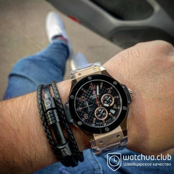 Hublot Big Bang black carbon dial gold bracelet вид 1